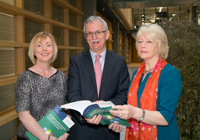 Pictured from left: Minister for Employment Affairs and Social Protection, Regina Doherty T.D. Tom Martin, Consultant Researcher and Anne Coogan, Chairperson, Sign Language Interpreting Service (SLIS)
