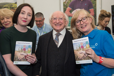 Pictured at the National Ploughing Championships in Tullamore at the launch of the Citizens Information Board/Teagasc booklet on 'Supports for Farmers' are the President of Ireland Michael D Higgins with Grainne Griffin & Cathy Gerrard, CIB. Photo O'Gorman Photography.