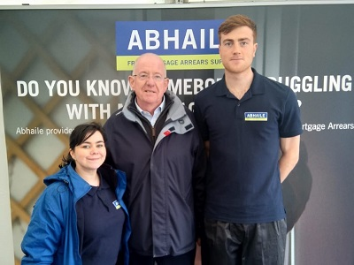 Minister for Justice and Equality, Charlie Flanagan with Evan O'Sullivan and Nicole Boyle McBride from the Abhaile Communications Team.
