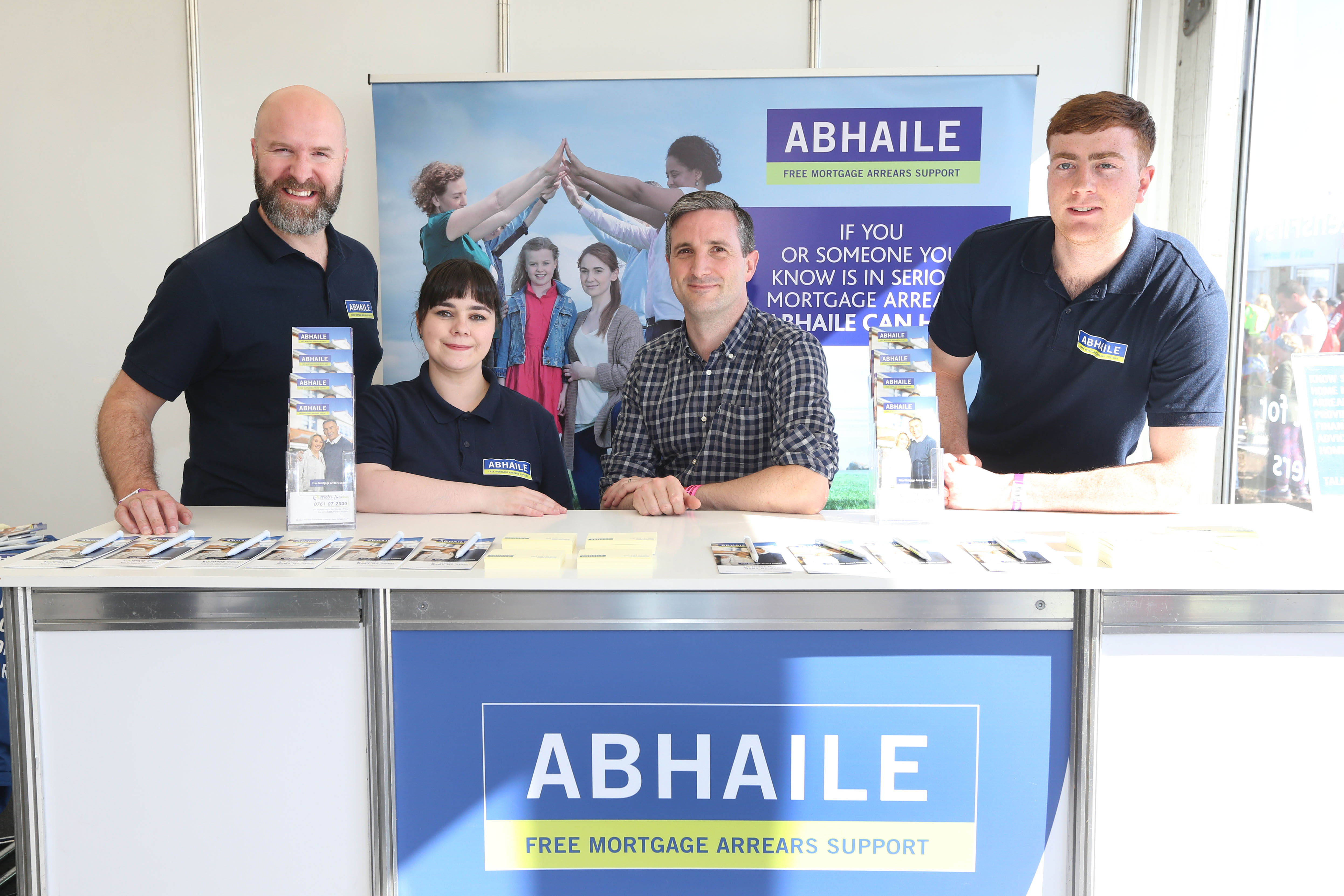 Abhaile staff pictured at the National Ploughing Championships with senior manager Adrian O' Connor.