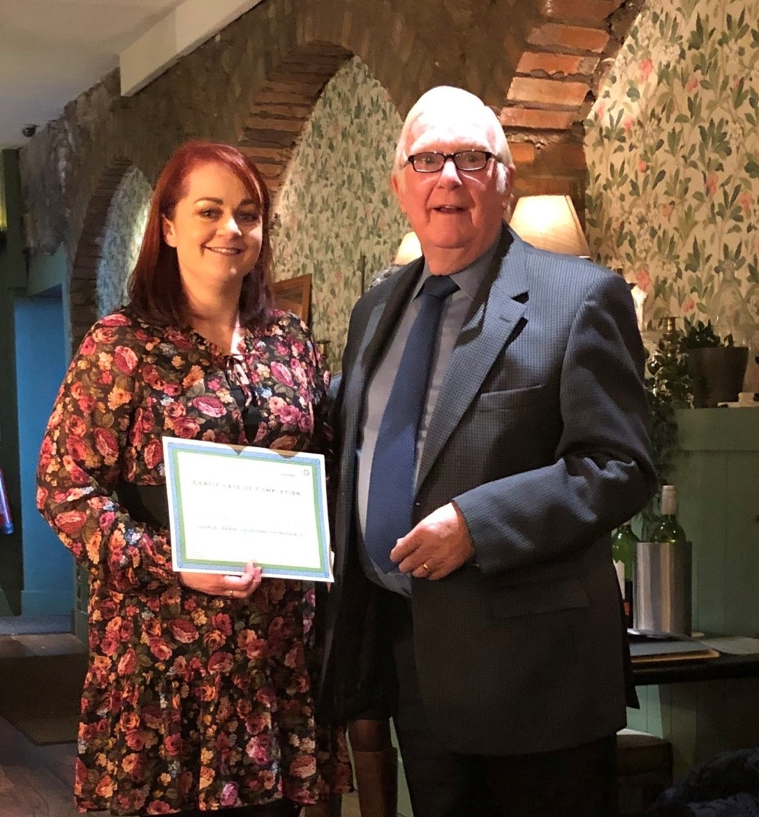 Ciara Doherty, Wicklow CIC, receives her ETIP certificate from South Leinster CIS board member, Eamonn Burgess